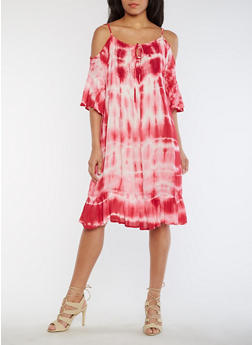 Mid Length Tie Dye Cold Shoulder Shift Dress - 0090038348714