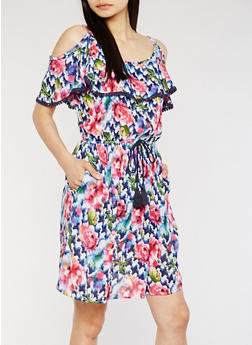Printed Cold Shoulder Dress with Ruffle Overlay - 0090038348716