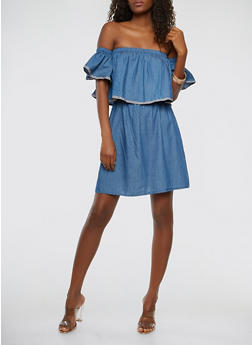 Denim Off the Shoulder Dress - 0090038348718