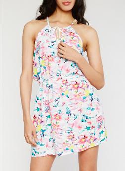 Sleeveless Printed Dress with Keyhole - 0090038349706