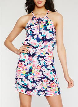 Sleeveless Printed Dress with Keyhole - 0090038349706
