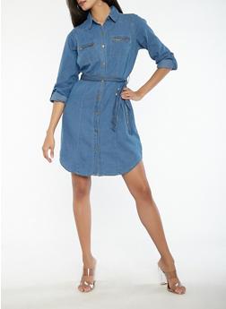 Tie Waist Button Front Denim Dress - 0090038349723