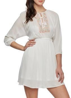 Embroidered Dress with Tie Neckline - 0090051062643