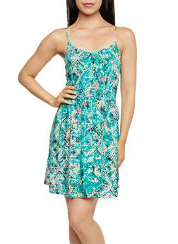 Smocked Spaghetti Strap Dress with Aztec Print - 0090051062682