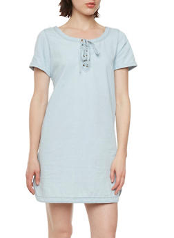 Chambray Dress with Lace-Up Neckline - 0090051062703