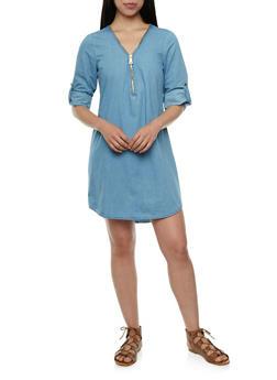 Chambray Dress with Zippered V-Neck - 0090051062710