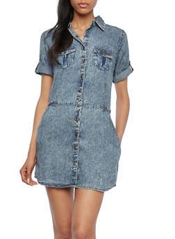 Acid Wash Button Front Dress - 0090051062763