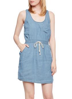 Sleeveless Chambray Dress with Drawstring Waist - 0090051062905