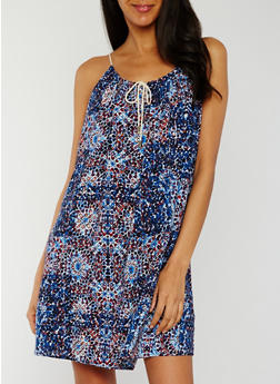 Sleeveless Printed Rope Tie Sundress - BLUE - 0090051062915