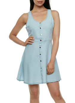 Chambray A-Line Dress with Scoop Neck - 0090051062933