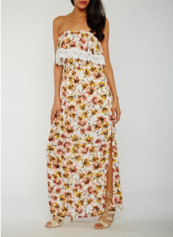 Off the Shoulder Floral Print Maxi Dress with Overlay - 0090051062942