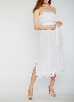 Belted Strapless Midi Dress with Crochet Trim - WHITE - 0090051062947