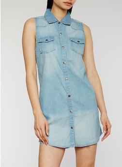Button Front Denim Shirt Dress - 0090051063066
