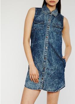 Button Front Denim Shirt Dress - 0090051063066