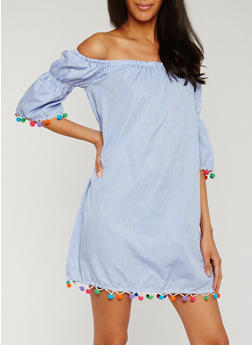 Striped Off the Shoulder Dress with Pom Pom Trim - 0090051063097