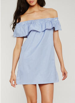 Striped Off the Shoulder Dress with Flounce Overlay - 0090051063215