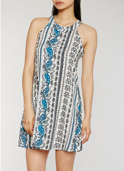 Sleeveless Printed Trapeze Dress - BLUE - 0090051063216