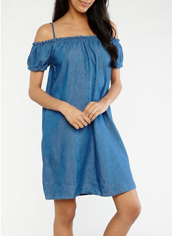 Denim Off the Shoulder Shift Dress - 0090051063483