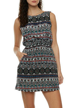Sleeveless Printed Dress with Zipper Pockets - 0090051063550