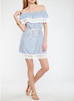 Striped Off the Shoulder Dress - 0090051063653