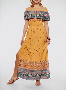 Border Print Off the Shoulder Maxi Dress - 0090051063664