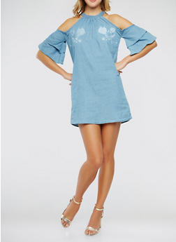 Embroidered Cold Shoulder Chambray Dress - 0090051063670