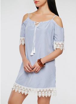 Striped Crochet Trim Off the Shoulder Dress - 0090051063678