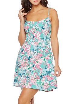 Floral Print Smocked Sundress - 0090051063682