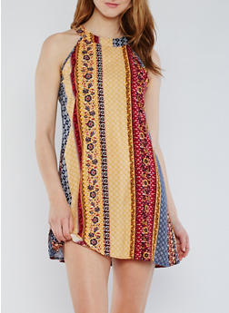 Sleeveless Printed Mini Dress - 0090051064216