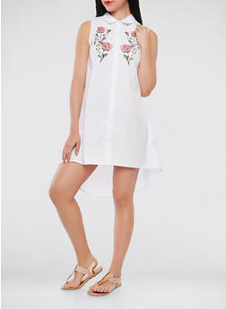 Floral Embroidered High Low Shirt Dress - 0090051064567