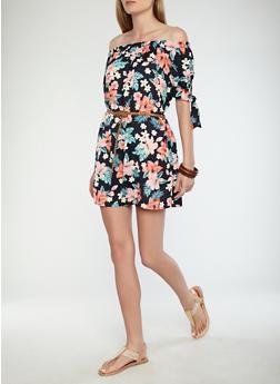Belted Floral Off the Shoulder Dress - 0090051064588