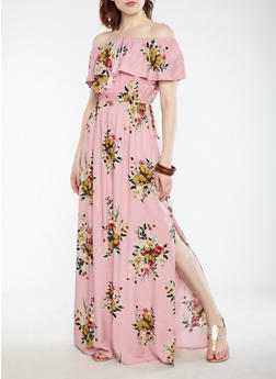 Printed Off the Shoulder Maxi Dress - 0090051064618