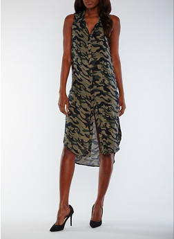 Sleeveless Printed Button Front Shirt Dress - CAMOUFLAGE - 0090051064722