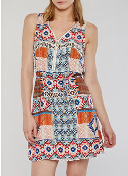 Sleeveless Printed Zip Front Mini Dress - 0090051064971