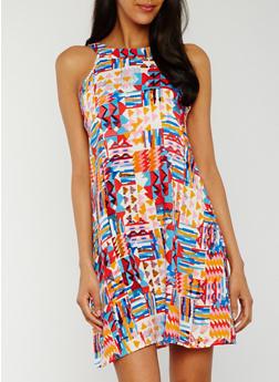 Sleeveless Printed Shift Dress - ORANGE - 0090051065216