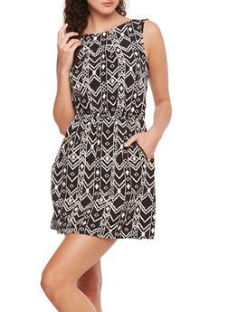Sleeveless Printed Dress with Zippered Pockets - 0090051065550