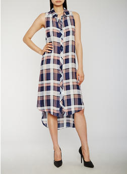 Sleeveless Plaid High Low Shirt Dress - 0090051065722