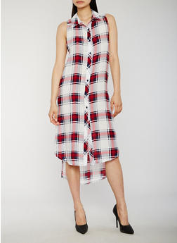 Sleeveless Plaid High Low Shirt Dress - WHITE/RED - 0090051065722