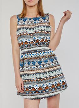 Sleeveless Printed Short Dress - MINT - 0090051067035