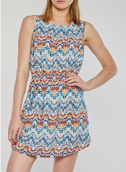 Sleeveless Printed Short Dress - MULTI COLOR - 0090051067035