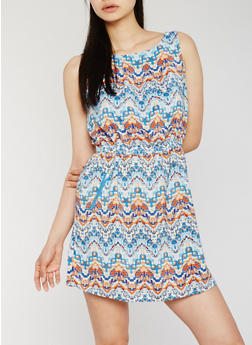 Sleeveless Printed Dress with Cinched Waist - 0090051068035