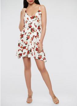 Printed Faux Wrap Mini Dress - 0090054260485