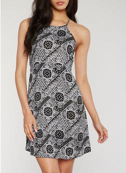 Printed Halter Neck Dress with Back Keyhole - 0090054268466