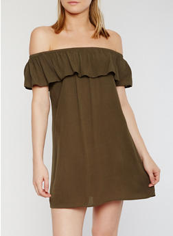 Off the Shoulder Ruffled Gauzy Dress - OLIVE - 0090054269437