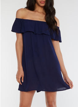 Off the Shoulder Ruffled Gauzy Dress - 0090054269437