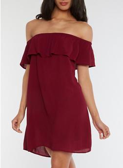 Off the Shoulder Ruffled Gauzy Dress - 0090054269437