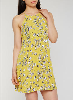 Floral Print Halter Cami Dress with Keyhole Back - 0090054269466