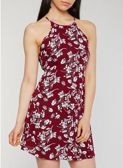 Floral Print Halter Cami Dress with Keyhole Back - 0090054269466