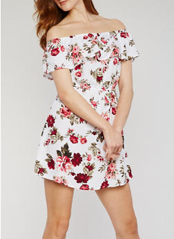 Off the Shoulder Floral Print Dress with Ruffle Overlay - 0090054269637