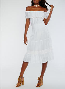 Solid Off the Shoulder Peasant Dress - 0090056124460